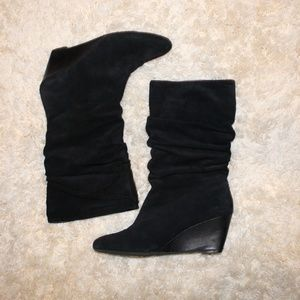 Alex Marie Black Suede Wedge Boots